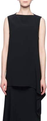 Victoria Beckham Sleeveless Crepe Top w/ Draped Hem