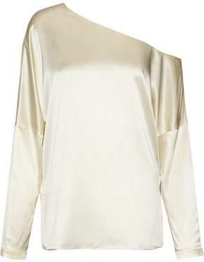 Tibi One-Shoulder Silk-Satin Top