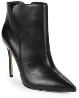 Ava & Aiden Point-Toe Leather Stiletto Booties