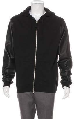 AllSaints Leather-Trimmed Hooded Sweatshirt