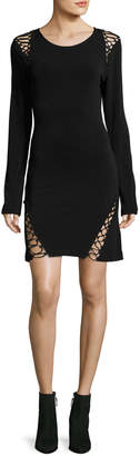 Haute Hippie Runway Long-Sleeve Stretch-Knit Dress w/ Lace-Up Trim
