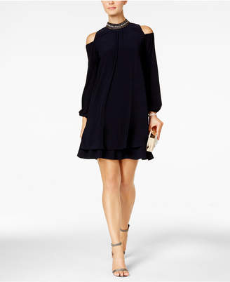Xscape Evenings X by Embellished Cold-Shoulder Party Dress