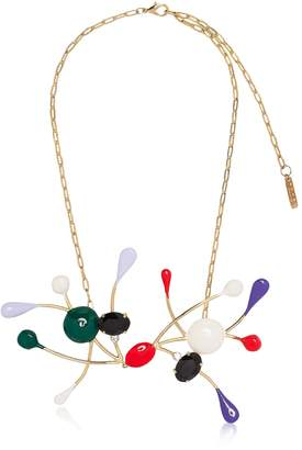 Marni Gold Metal And Enamel Necklace W/colored Glass And Rhinestones