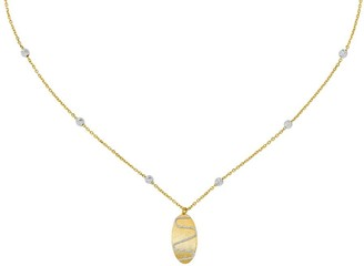 Italian Gold Two-Tone Bead Chain with Oval Dangle 14K
