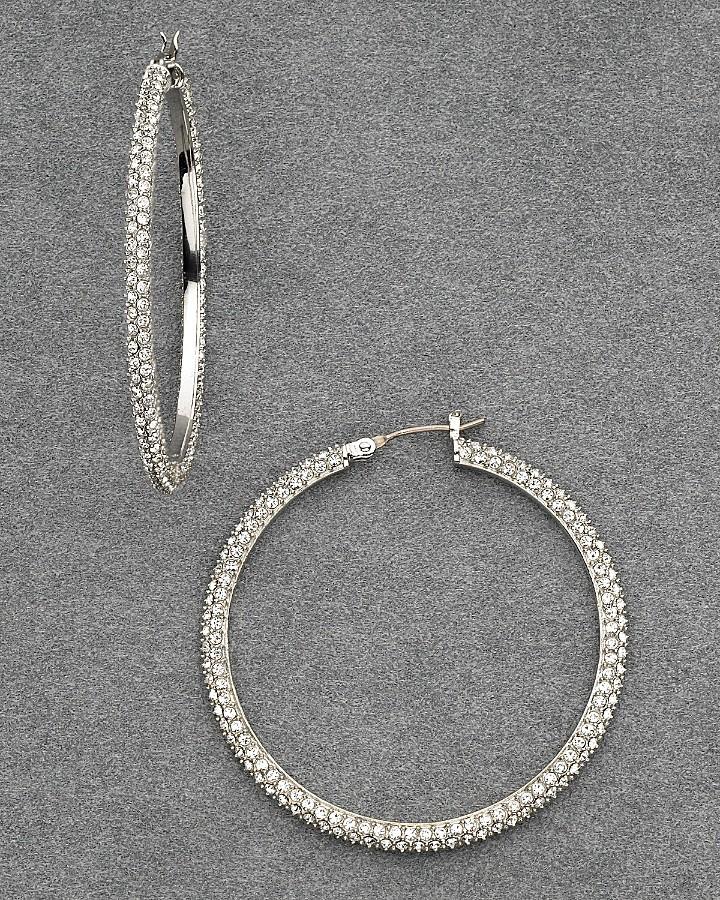 Lauren Ralph Lauren Women's Sutton Place Large Pavé Hoop Earrings