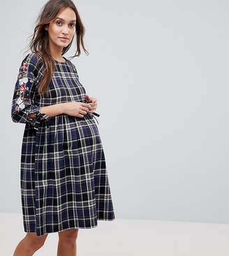 New Look Maternity Check Embroidered Smock Dress