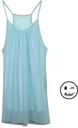 Posher FL6 Womens Chiffon Spaghetti Strap Back Howllow Out Beach Short Dress (/L/US 8-10)
