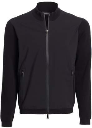 Emporio Armani Full Zip Mixed Media Sweater