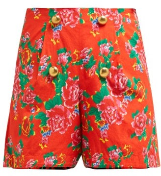 Rhode Resort Reese Floral Print High Waist Cotton Shorts - Womens - Red Print