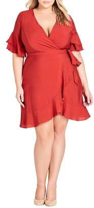City Chic Flounce Sleeve Dress