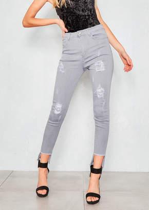 db4e26361999 Missy Empire Missyempire Dimitri Grey Distressed Step Hem Skinny Jeans