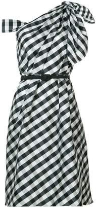 Carolina Herrera plaid taffeta one shoulder dress