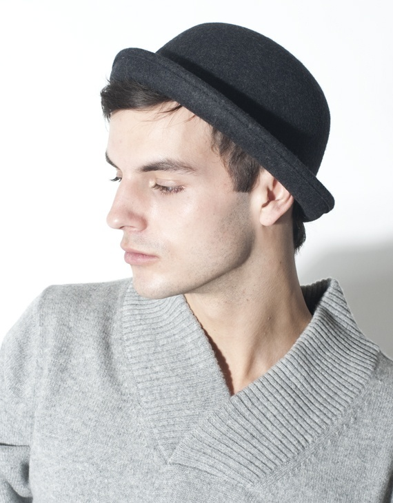 Charcoal Bowler Hat