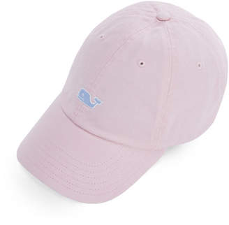 Vineyard Vines Garment Dyed Logo Leather Strap Baseball Hat