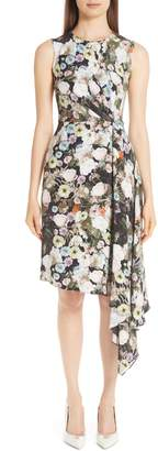 ADAM by Adam Lippes Floral Print Silk Drape Dress
