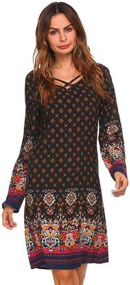 Ours Women's Vintage Ethnic Style Printed V Neck Slim Fit Bohemian Tunic Dress M