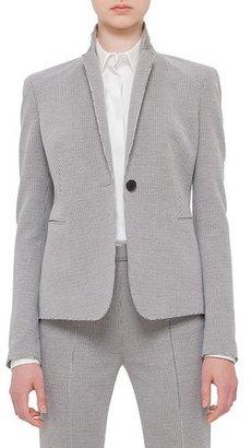 Akris punto One-Button Houndstooth Jacket, Black/Cream $1,290 thestylecure.com