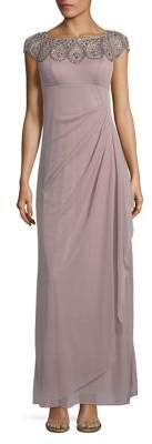 Xscape Evenings Petite Embellished Cap-Sleeve Gown