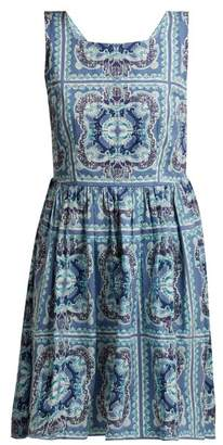 Le Sirenuse Le Sirenuse, Positano - Audrie Aretusa Print Cotton Mini Dress - Womens - Blue Print