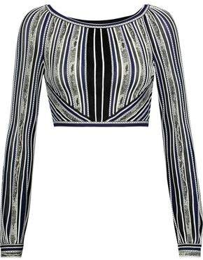 Roberto Cavalli Cropped Embroidered Stretch-Knit Top
