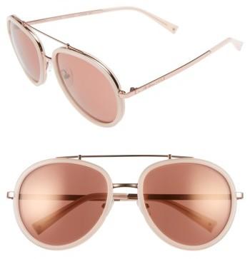 Women's Kendall + Kylie Jules 58Mm Aviator Sunglasses - Crystal Black/ White/ Gold