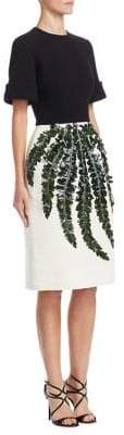 Oscar de la Renta Fern Applique Knee-Length Dress