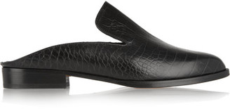 Robert Clergerie - Alicek Croc-effect Leather Slippers - Black $495 thestylecure.com