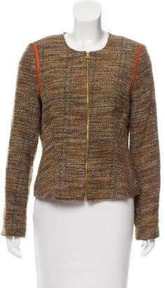 L'Agence Leather-Trimmed Tweed Jacket
