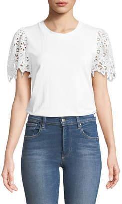 Rebecca Taylor Eyelet Short-Sleeve Crewneck Cotton Jersey Top