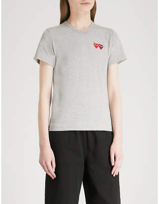 Comme des Garcons Double heart-embroidered cotton-jersey T-shirt