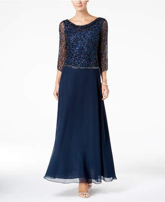 J Kara Beaded Cowl-Neck Gown
