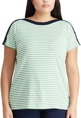 Chaps Plus Size Stripe Lace-Up Top
