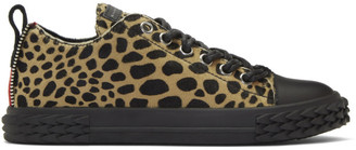 Giuseppe Zanotti Black and Tan Animal Print Blabber Low-Top Sneakers