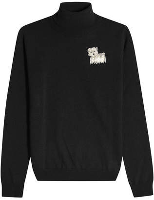 Moschino Virgin Wool Turtleneck Pullover with Embellished Motif