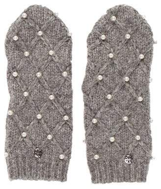 Tory Burch Knit Embellished Mittens