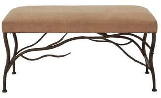 BEIGE DecMode Decmode Eclectic 20 Inch Cushion Bench w/ Bronze Tree Branch Metal Frame