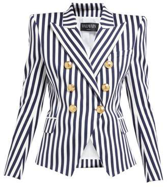 Balmain Striped Double Breasted Cotton Blazer - Womens - Navy White