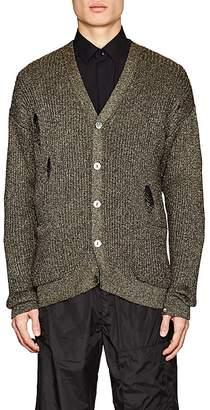 Facetasm Men's Distressed Metallic Rib-Knit Cardigan
