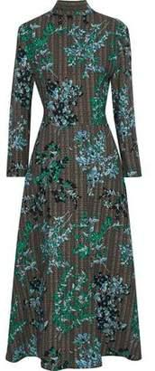 Marni Open-Back Printed Wool And Silk-Blend Faille Midi Dress