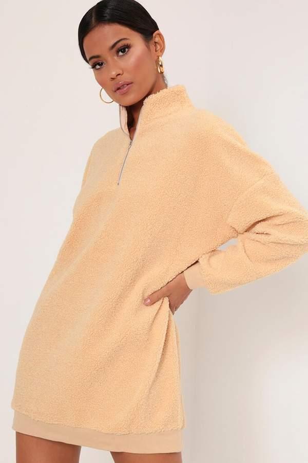 Isawitfirst Cream Borg Oversized Jumper Dress