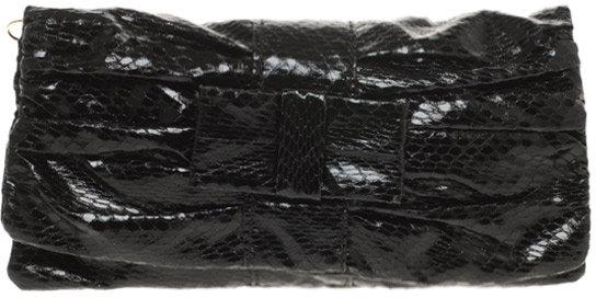 Mango Olsen Croc Effect Bow Clutch Bag
