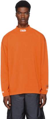 Heron Preston Orange Turtleneck Style Long Sleeve T-Shirt