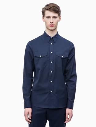 Calvin Klein Slim Fit Brushed Cotton Twill Western Shirt