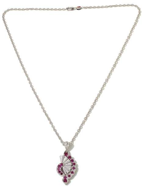 "Generations 1912 Generations 1912 - .99ctw Rhodolite ""Fan"" Sterling Silver Pendant with 18"" Chain Necklace"