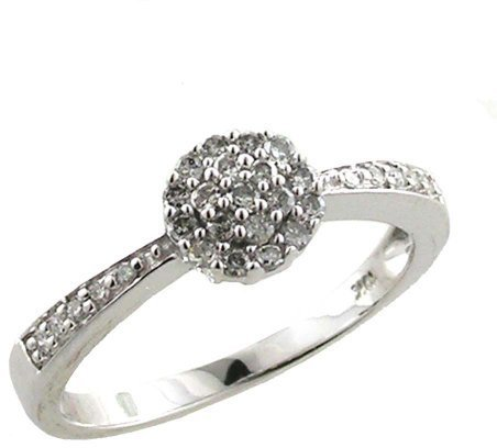 10kt White Gold 1/5ctw Diamond Cluster Ring - (Sizes 6 - 8)