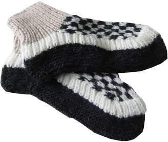 Alpakaandmore Unisex Douple Hand-knitted Winter Slipper Socks Alpaca Wool (, Black/White)