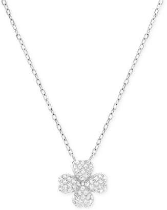 Swarovski Rhodium-Plated Crystal Pave Four-Leaf Clover Pendant Necklace