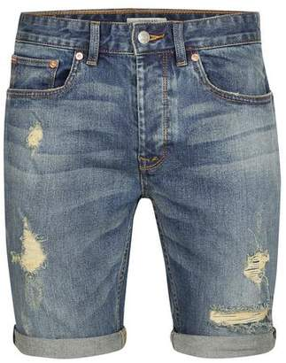 Topman Mens Blue Mid Wash Stretch Skinny Ripped Denim Shorts