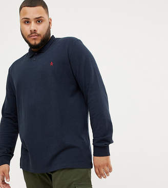 Original Penguin Big & Tall long sleeve polo slim fit embroidered logo in navy marl