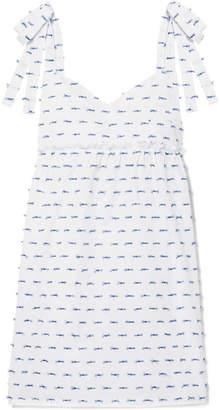 Three J NYC Gisele Tied Fil Coupé Cotton-poplin Nightdress - White